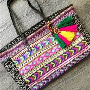 Boho Embroidered Beaded Beach Festival  Bag #E1602